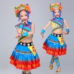 2018年新款校园民族舞蹈服装苗族儿童舞蹈服装定制生产厂家