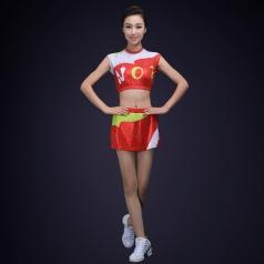 女生艺术体操比赛服装啦啦操舞台装无袖弹力健美操服装广播体操服