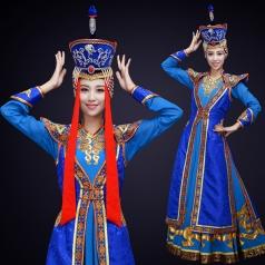 新款成人少数民族舞蹈服装内蒙古蓝色舞蹈演出服装大摆裙服装定制!