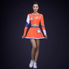 新款成人啦啦操服装橘色长袖运动会艺术体操服装舞台装健美操服装