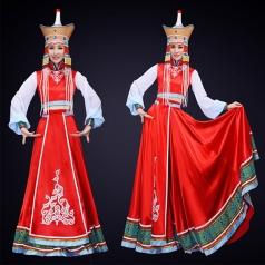 新款蒙古舞蹈演出服装红色大摆裙舞蹈演出服装定制!