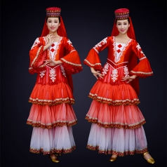 女款新疆舞蹈演出服装跌裙少数民族舞蹈演出服装定制!