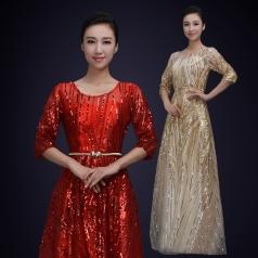 舞台演出服装女款黄色/大红色女士网纱合唱演出服装定制!