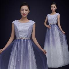 成人无袖合唱演出服装女款白色舞台合唱比赛服装定制!