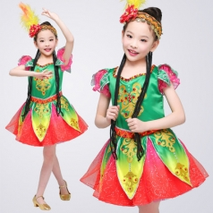 儿童舞蹈演出服装女款新疆舞蹈表演服装校园舞台服装定制款!