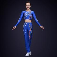 校园运动会比赛演出服装女子健美操演出服装定制蓝色新款健美操服