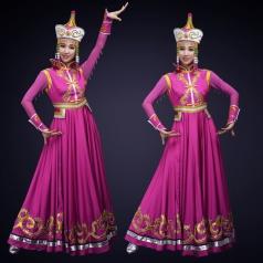 少数民族舞蹈演出服装新款内蒙古舞蹈表演服装紫色演出服装定制!