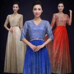 西式合唱演出服装女款V领合唱礼服定制女款团体合唱服!