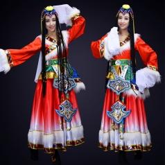 藏族舞蹈演出服装成人女款舞蹈演出服装定制!