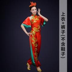 新款社区舞台演出服装女款秧歌舞蹈演出服装红色女秧歌服定制!