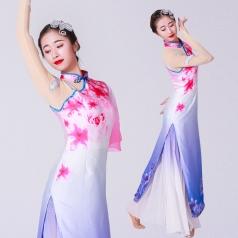 新款中国风古典舞蹈演出服装白色花点裙舞蹈表演服装定制款