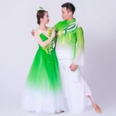 新款成人舞蹈演出服装中国风古典舞蹈演出服装男女款绿色舞蹈服定制!