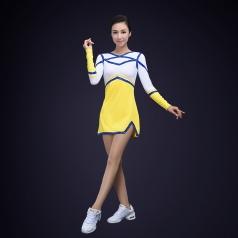 新款校园艺术体操演出服装黄色氨纶塑体健美操演出服装成人艺术体操定制!