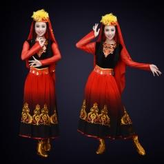 成人新款新疆舞蹈演出服装晚会民族舞蹈演出服装定制!
