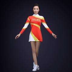 校园艺术体操演出服装大红色女子健美操比赛演出服装艺术体操服定制!
