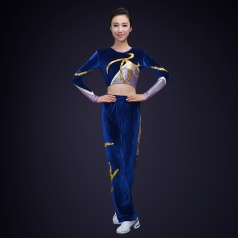 成人女子健美操演出服装校园健美操比赛演出服装丝绒体操演出服装定制!