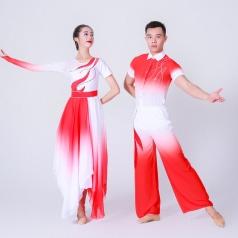 男女团体舞台演出服装红色舞台演出服装古典舞蹈表演服装定制!