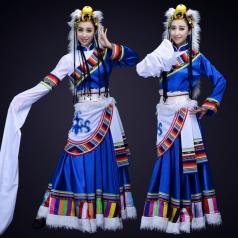 蓝色新款舞台演出服装成人藏族舞蹈演出服装定制!