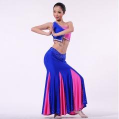 新款民族舞蹈演出服装蓝色傣族舞蹈表演服装定制款