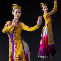 新疆民族舞蹈演出服装黄色长裙舞蹈表演服装搞定制款!