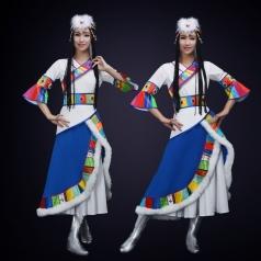 新款民族舞蹈演出服装大型舞台表演服装藏族舞蹈演出服定制!