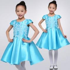 女童合唱演出服装校园舞台合唱比赛服装青色蓬肩无袖合唱服装定制款式!