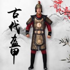 古典将士盔甲舞台将军盔甲服装服饰虎头黄金盔甲景区真人秀演出服装定制款式