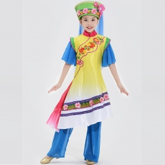 2018全新款式少数民族舞蹈演出服装儿童保安族舞蹈表演服装定制!