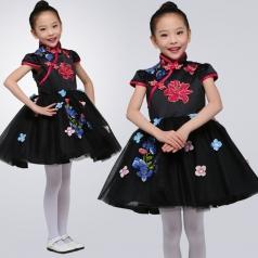 小学生合唱比赛演出服装儿童合唱表演比赛服装定制黑色中国风合唱比赛服装