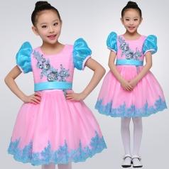 校园合唱演出服装女童蓬蓬舞台演出服装儿童合唱服装定制!