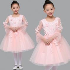 儿童合唱服定制款式小学生舞台合唱比赛服装女童合唱蓬蓬裙演出服装定制!