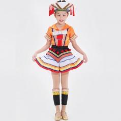 儿童舞蹈表演服装定制新款瑶族舞台演出服装大型舞台演出服装定制!