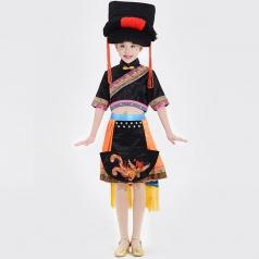 民族舞蹈演出服装黑色彝族舞蹈队演出服装校园文艺演出服装定制!