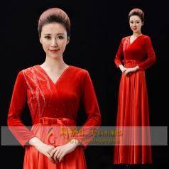 新款大红色合唱服长裙女演出服装成人丝绒合唱指挥服装长款晚礼服