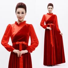 新款成人合唱服长裙丝绒舞台合唱服长裙女中老年合唱服装定制