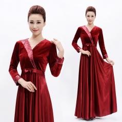 新款成人合唱服长裙女酒红色丝绒指挥服装国庆红歌合唱演出服装