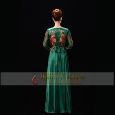 新款中老年合唱服长裙女演出服中老年合唱服装定制