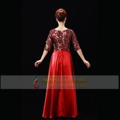 新款红色合唱服装长裙女士演出合唱服指挥服