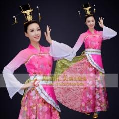 经典剧目《铜雀女》舞蹈成人练功服艺考中国风粉色扇子舞蹈表演服装定制!