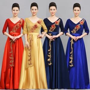 合唱礼服女演出服大合唱团网红学生半袖独唱礼服长裙主持人晚礼服