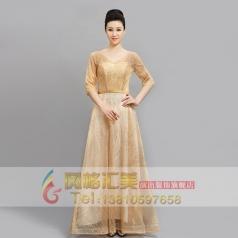 网红款合唱礼服女合唱长裙演出服装中老年半袖大码合唱团服定制