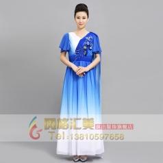 合唱礼服女成人雪纺大合唱长裙短袖飘逸合唱演出服装主持人晚礼服